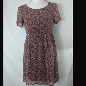 As U Wish Burgundy Dress Lined Size XS
